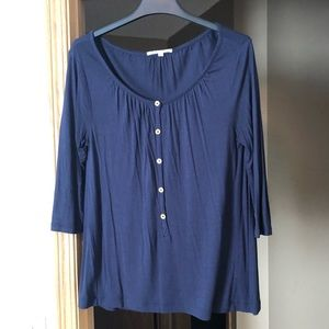 Gap Navy Blue Button Front Knit Top